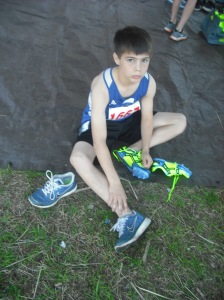 Josh with his new Brooks Track spikes ready to test them out!